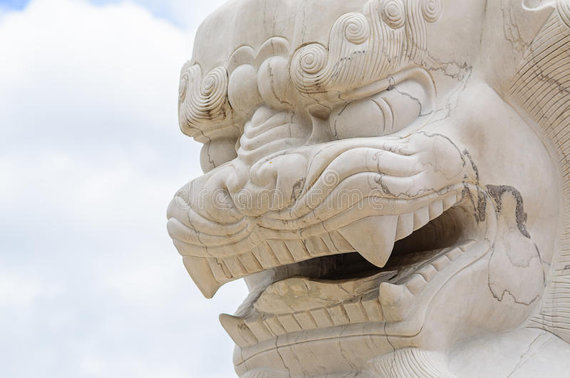 Face of Chinese Lion Statue. A Face of Chinese Lion Statue royalty free stock images