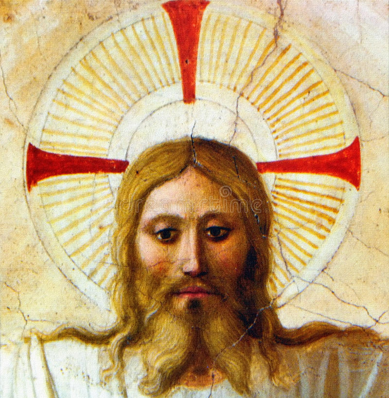 Face of Christ. Closeup of Christ face from Fra Angelico painting (a Reproduction). Original painting is located in Convento di San Marco, Florence, Italy royalty free stock photography