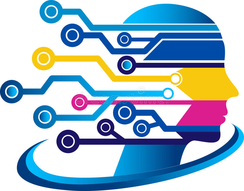 Face circuit logo vector illustration