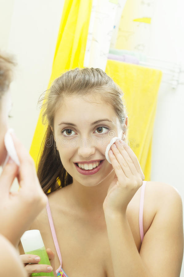 Face cleansing stock photography