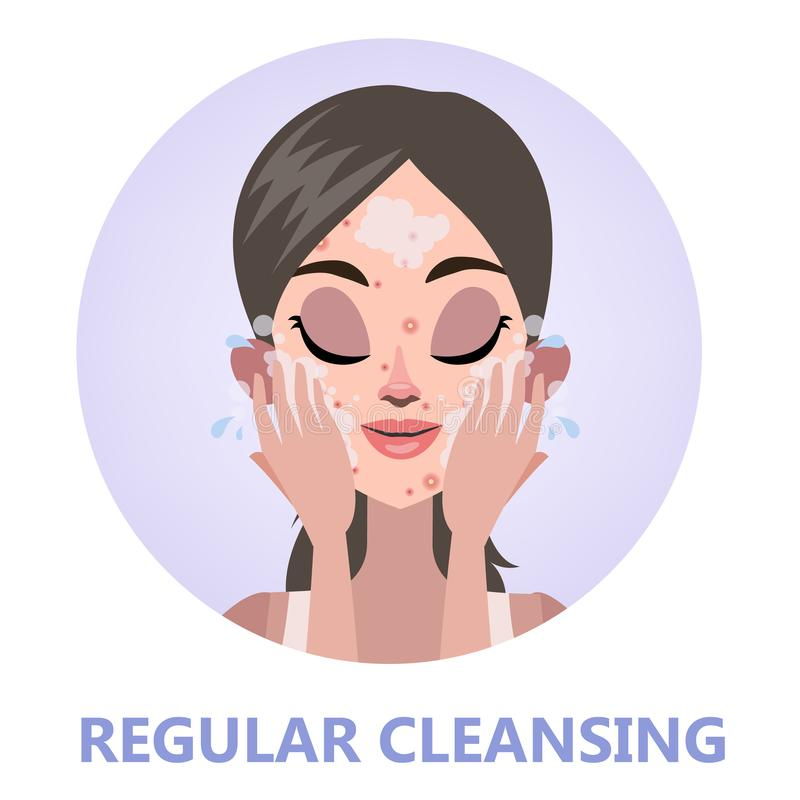 Face cleansing for skin beauty. Woman washing. Her face regulary to stop acne. Isolated flat vector illustration stock illustration