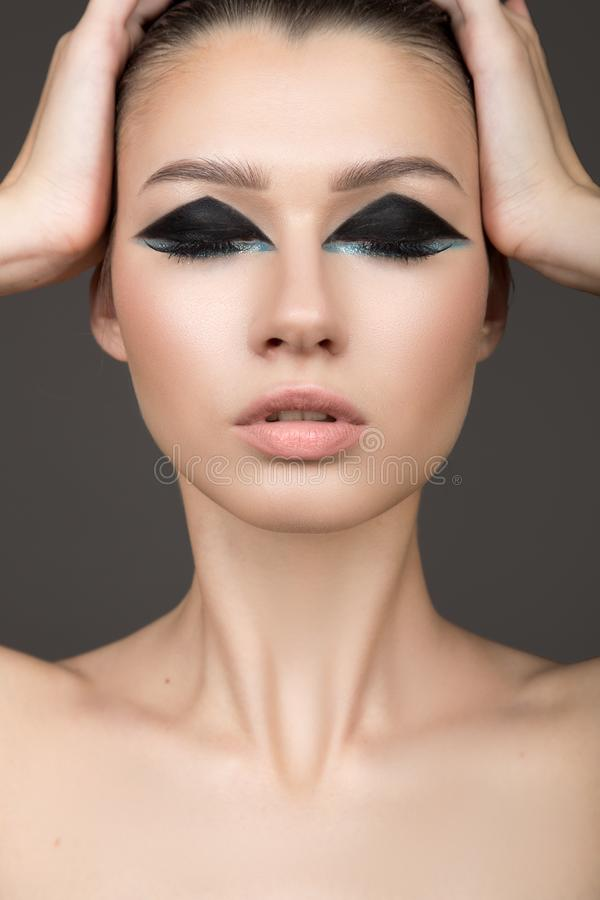 Face close up. Cosmetics, natural makeup. Eyeshadow. naked stock images