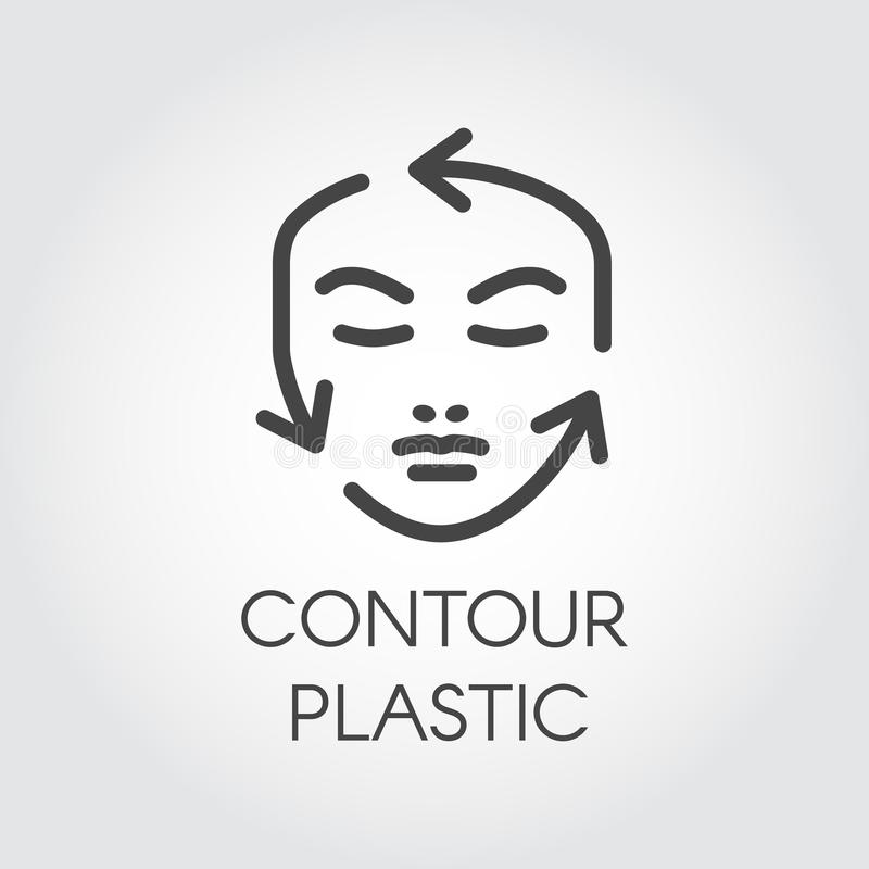 Face contour correction linear icon. Plastic surgery or cosmetic procedures pictogram. Human portrait with guide arrows. Face contour correction linear icon royalty free illustration