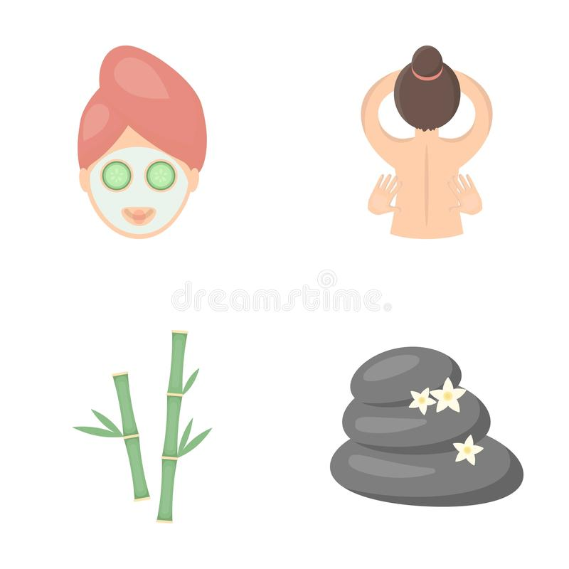 Face with a cosmetic mask with cucumbers, massage hands, bamboo, stones with lotus flowers. Spa set collection icons in. Cartoon style vector symbol stock vector illustration
