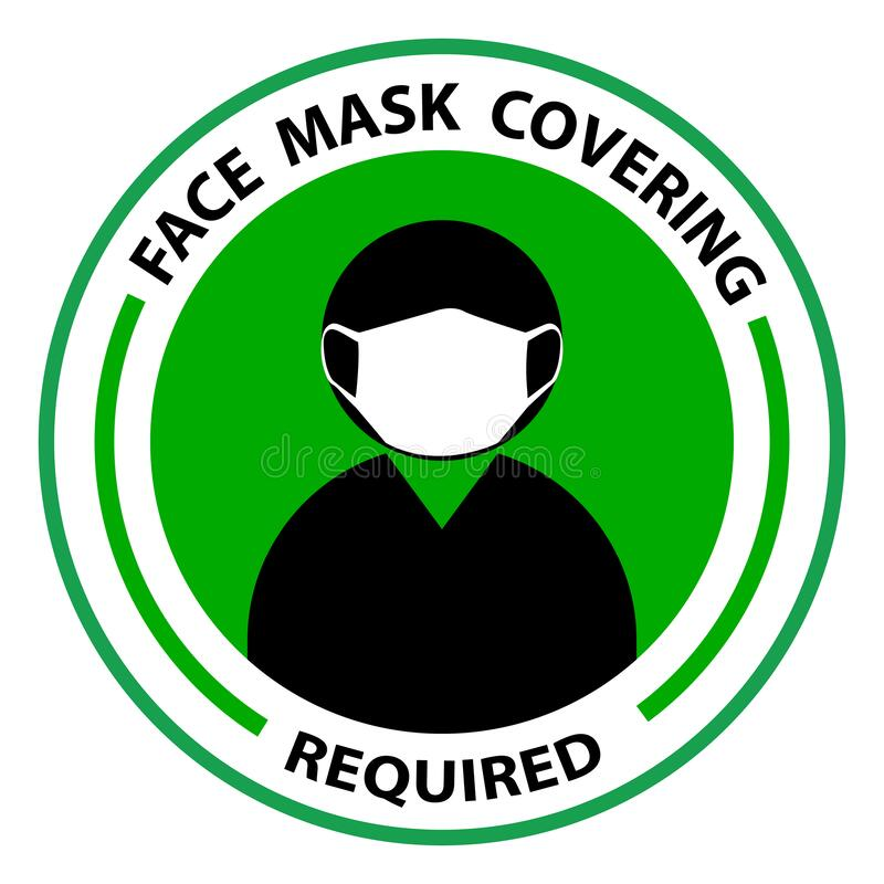 Free Face Covering Required Or No Face Mask No Entry Round Badge Sticker Sign Stock Photo - 189984140