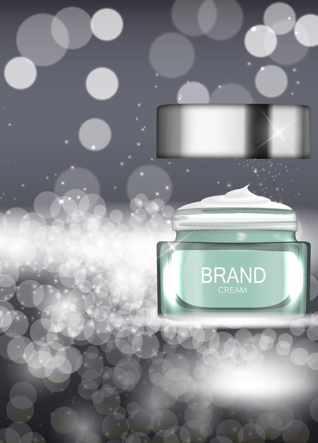 Face Cream Bottle Tube Template for Ads or Magazine Background. 3D Realistic Vector Iillustration. EPS10 stock illustration