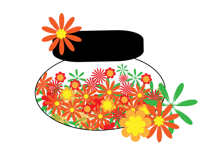 Face cream from flower. The Flowerses in container vector illustration