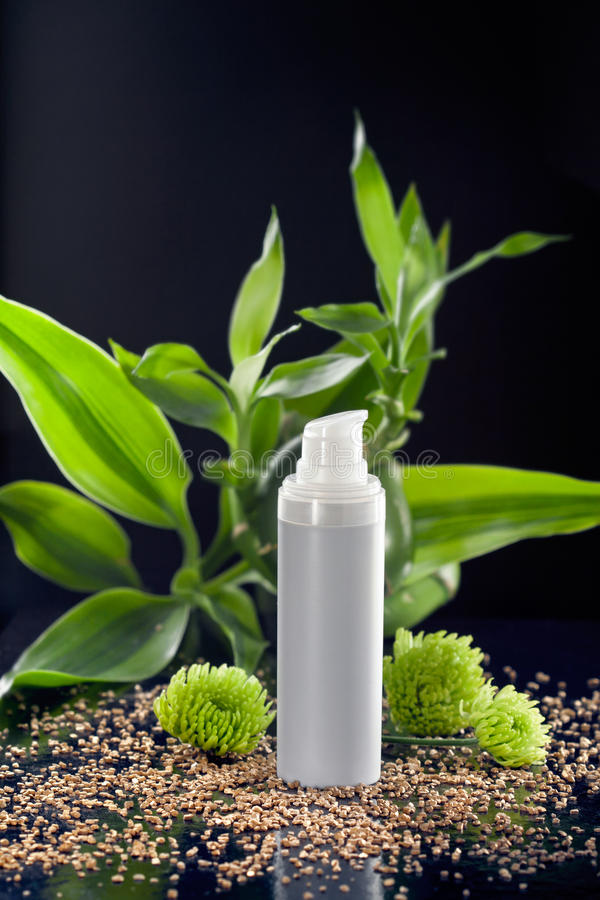 Face cream moisturizer among bamboo leaves royalty free stock images