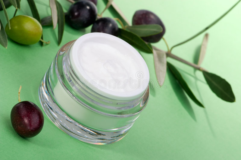 Download Face cream and olive twig stock image. Image of mediterranean - 8224257