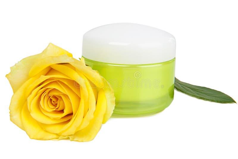 Face Cream and yellow rose stock photos