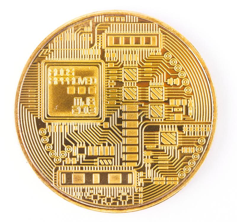 Face of the crypto currency golden bitcoin isolated on white background. stock photo
