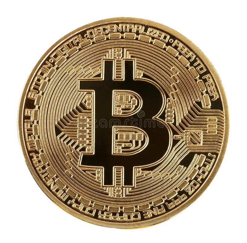 Face of the crypto currency golden bitcoin isolated on white bac stock photos