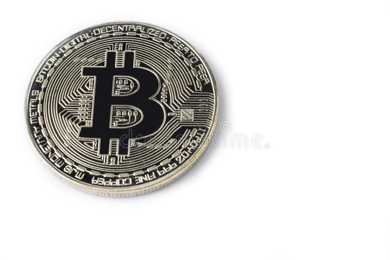 Face of the crypto currency golden bitcoin isolated on white background. royalty free stock images