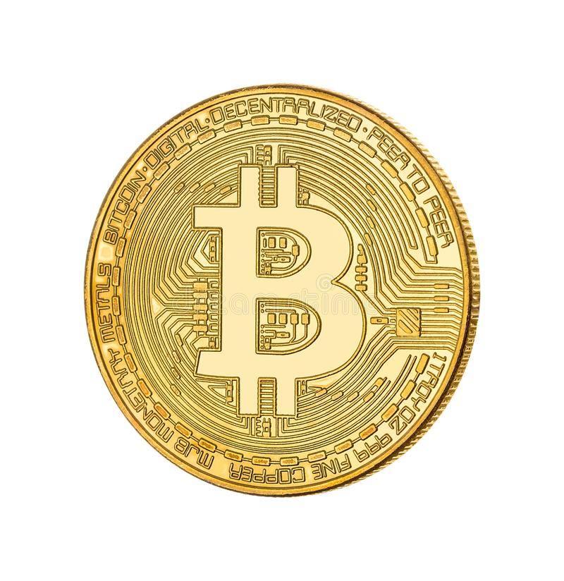 Face of the crypto currency golden bitcoin on white background stock images