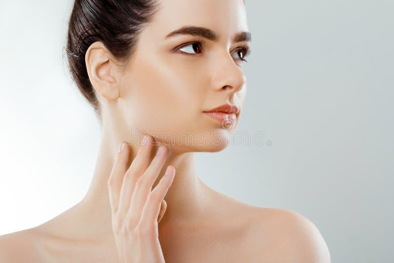 Face da beleza Mulher bonita com toque natural da composição própria cara Menina com pele fresca limpa closeup cosmetology Skinca foto de stock