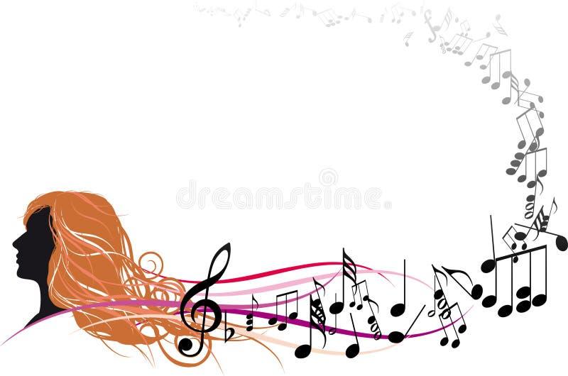 Face da menina com notas da música ilustração royalty free