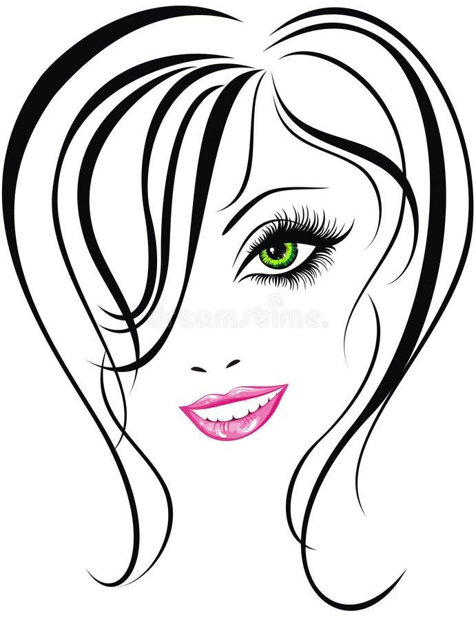 Face da menina da beleza ilustração royalty free