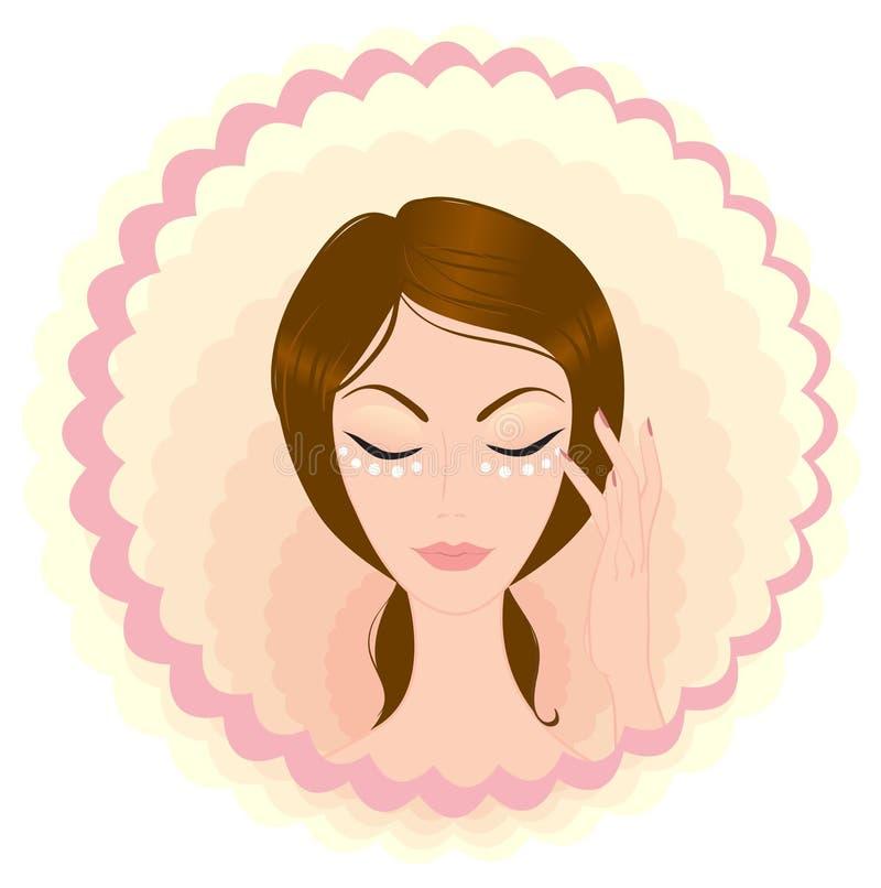 Face da menina da beleza do cuidado ilustração royalty free