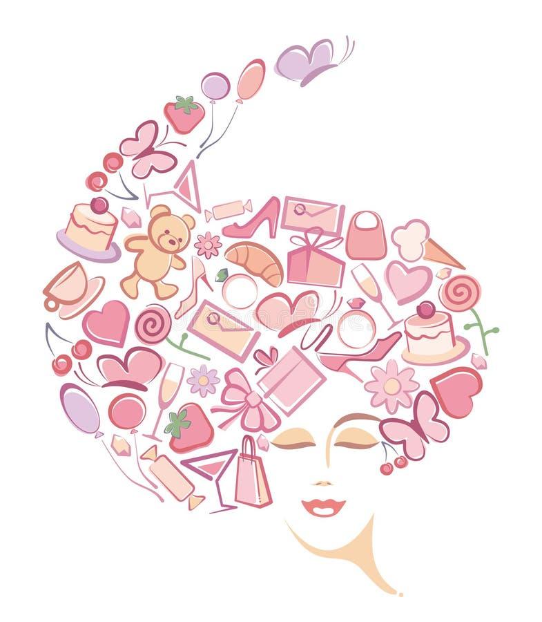 Face da mulher abstrata ilustração stock