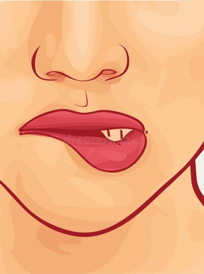 Face da mulher com batom. ilustração royalty free
