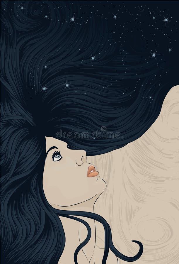 Face da mulher com cabelo de fluxo por muito tempo detalhado ilustração royalty free