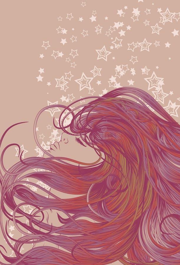 Face da mulher com cabelo detalhado ilustração royalty free