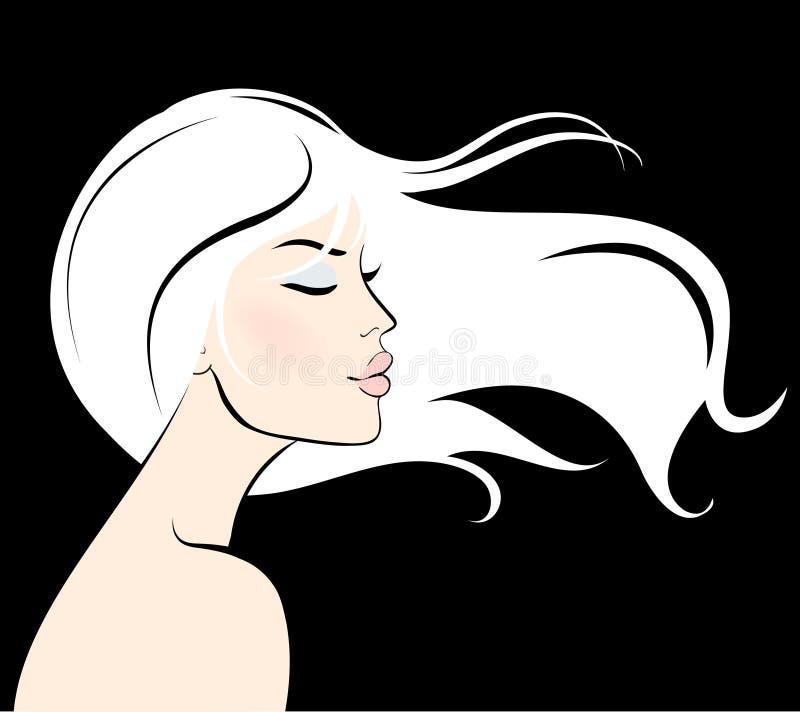 Face da mulher com cabelo longo ilustração stock