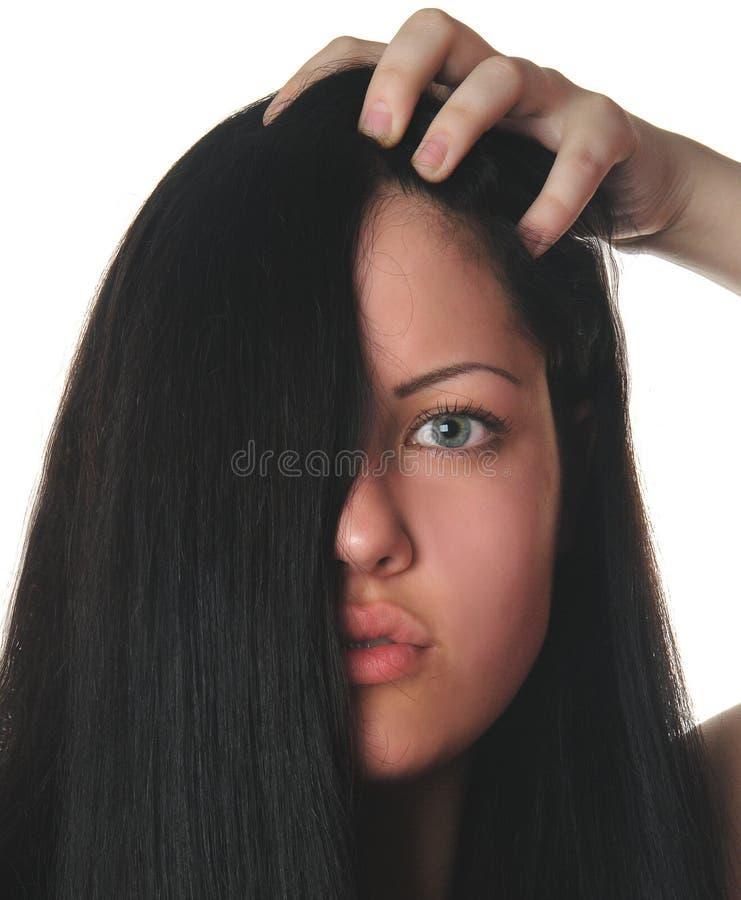 Face da mulher com cabelo preto imagem de stock royalty free
