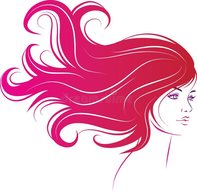 Face da mulher com cabelo preto longo ilustração stock