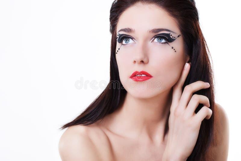 Face da mulher com composição brilhante foto de stock