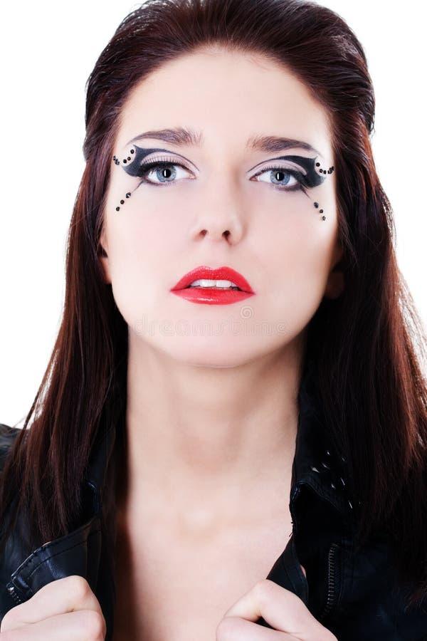 Face da mulher com composição brilhante fotografia de stock