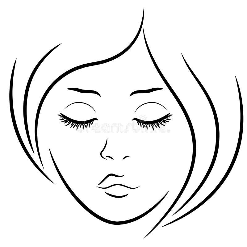 Face da mulher com olhos fechados ilustração royalty free