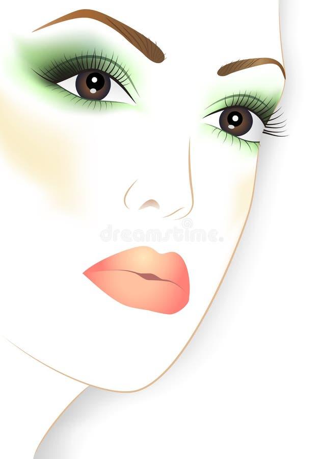 Face da mulher da beleza com composição ilustração royalty free