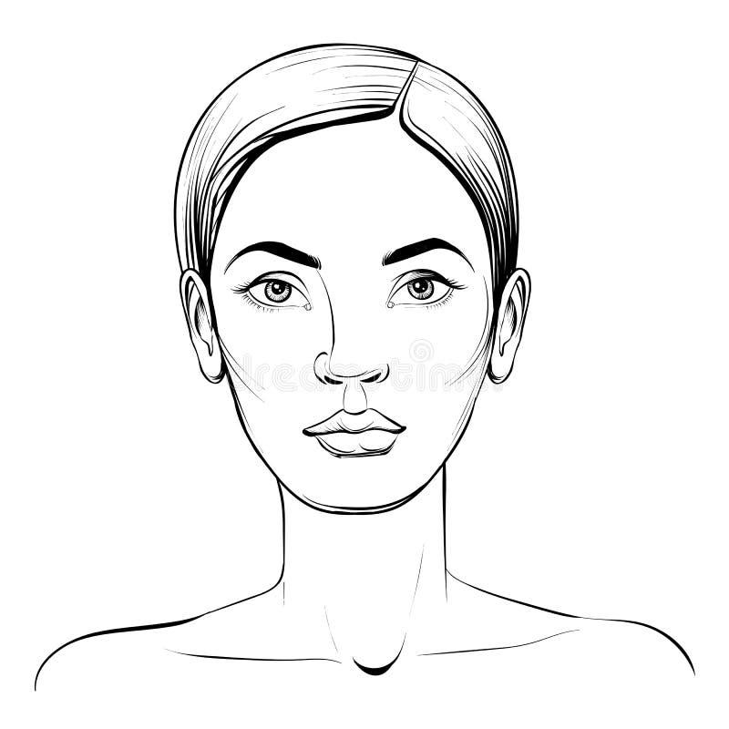 Face da mulher Esboço do vetor do retrato ilustração royalty free