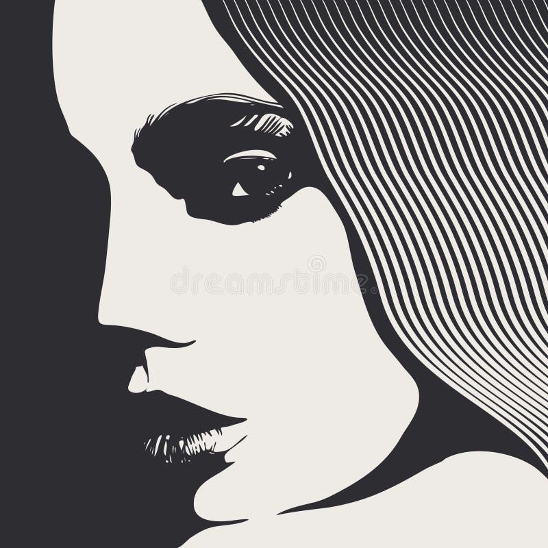 Face da mulher, estilo gravado ilustração stock