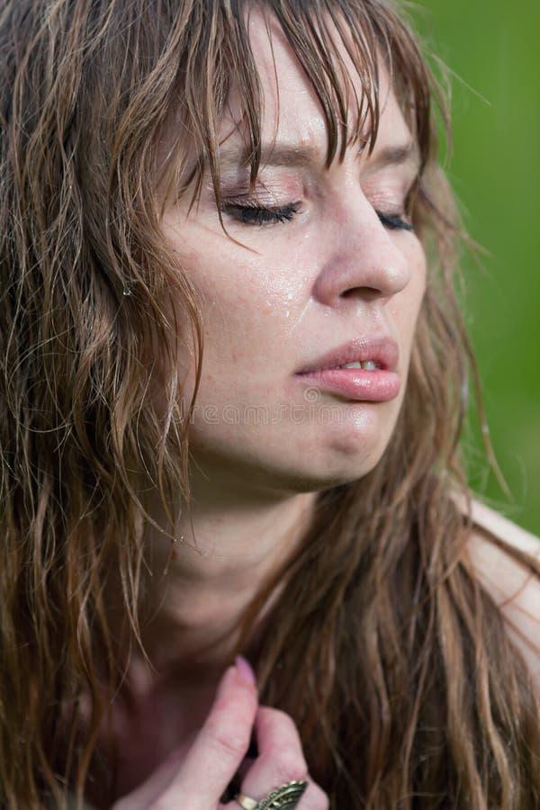 A Face Da Mulher Molhada Imagens de Stock Royalty Free