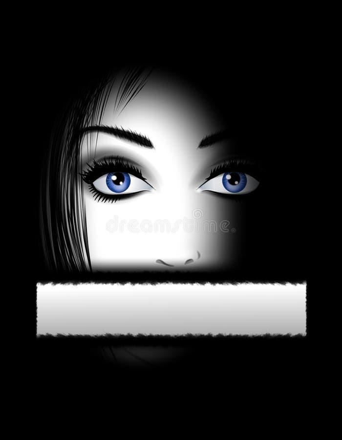 Face da mulher nas sombras e no silêncio ilustração royalty free
