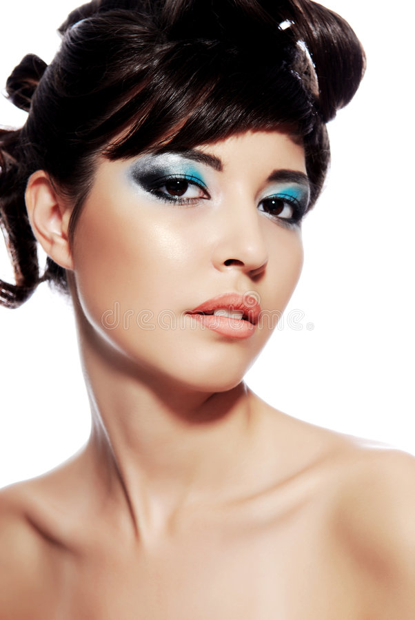 Face da mulher nova com composição colorido foto de stock