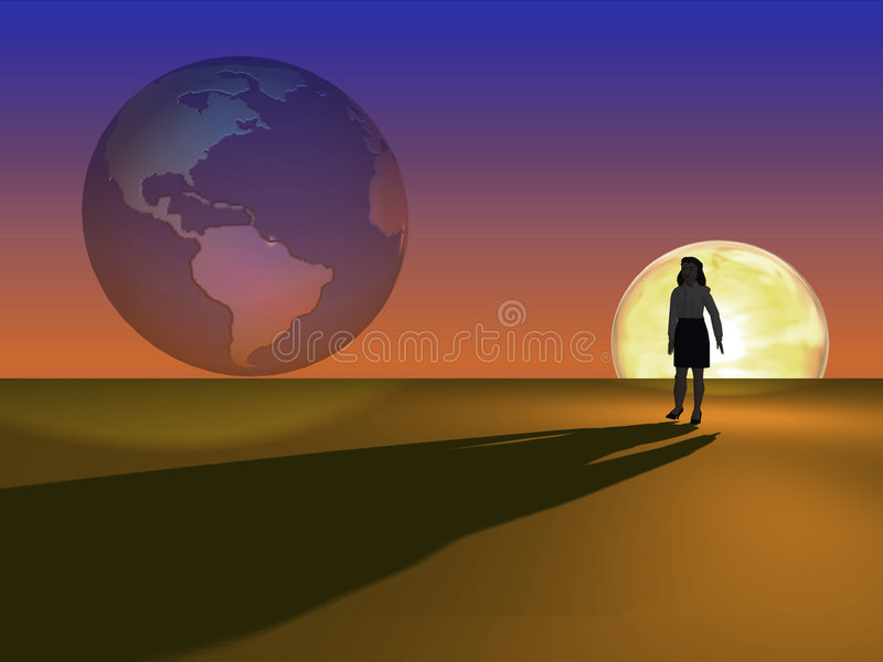 Download Face da mulher o mundo ilustração stock. Ilustração de mulher - 531624