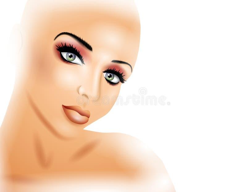 Face da mulher que olha fixamente na luz branca ilustração do vetor