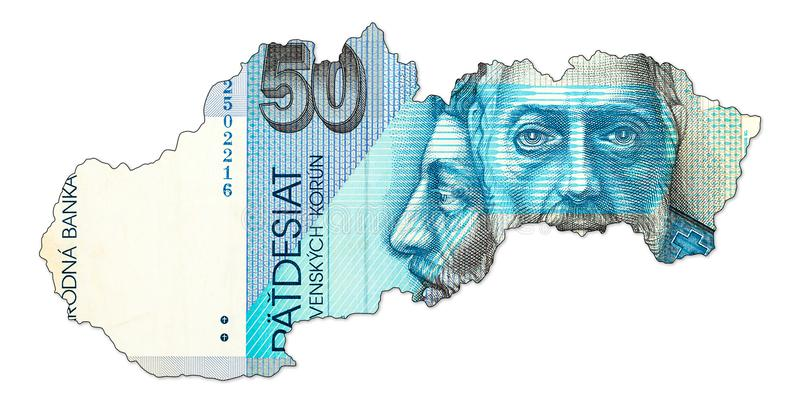 face de billet de banque de couronne du slovak 50 dans la forme de la Slovaquie illustration libre de droits