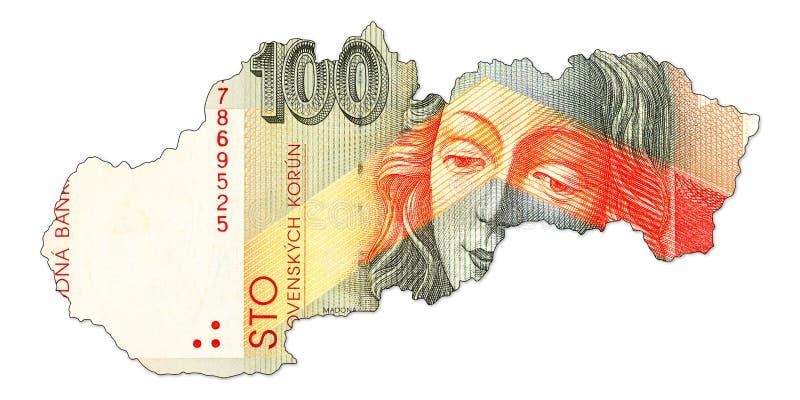 face de billet de banque de couronne du slovak 100 dans la forme de la Slovaquie illustration libre de droits