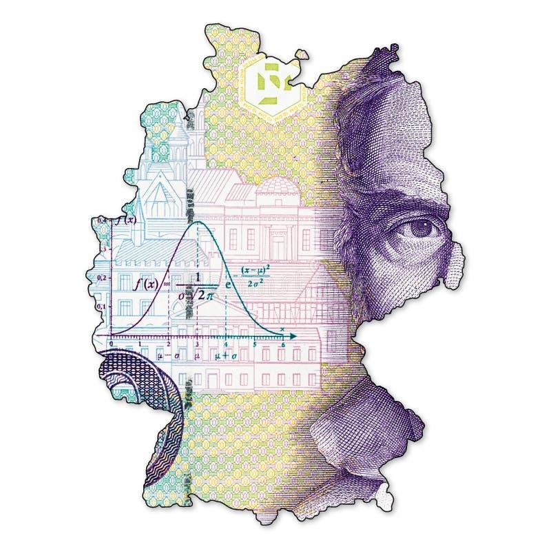 face de billet de banque de la marque 10 allemande dans la forme de l'Allemagne illustration libre de droits
