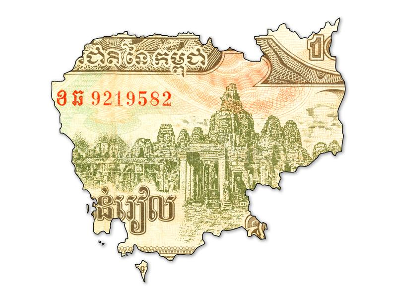 face de billet de banque de riel de 1000 Cambodgiens dans la forme du Cambodge illustration stock