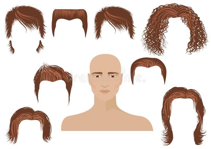 Face de Hairstyle.Man e jogo dos cortes de cabelo ilustração royalty free