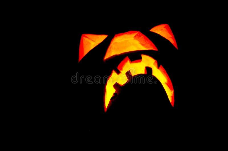 Face de incandescência da abóbora de Halloween fotos de stock