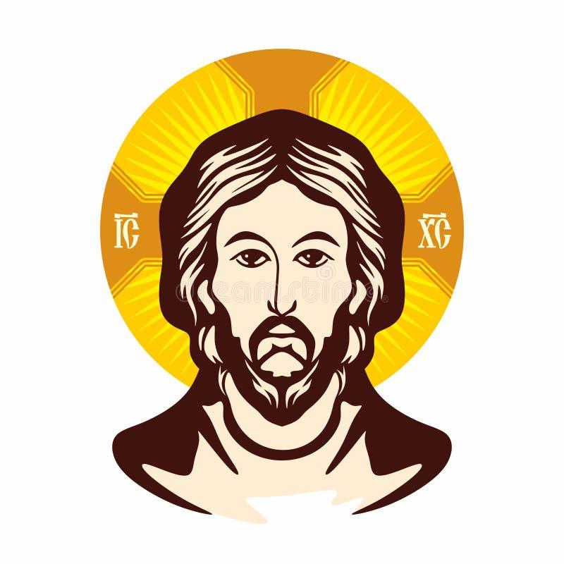 Face de jesus Igreja ortodoxa do ícone ilustração royalty free