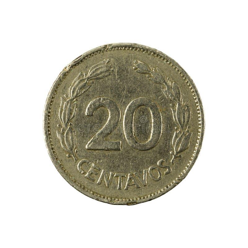 20 face de la pièce de monnaie 1969 de centavo d'ecuadorian photo libre de droits