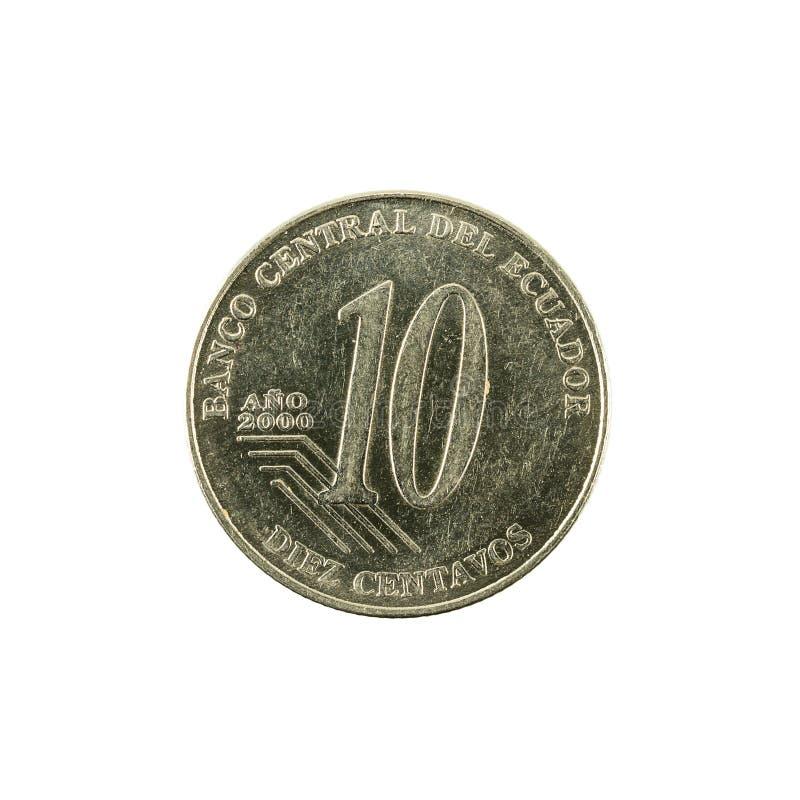 10 face de la pièce de monnaie 2000 de centavo d'ecuadorian images stock