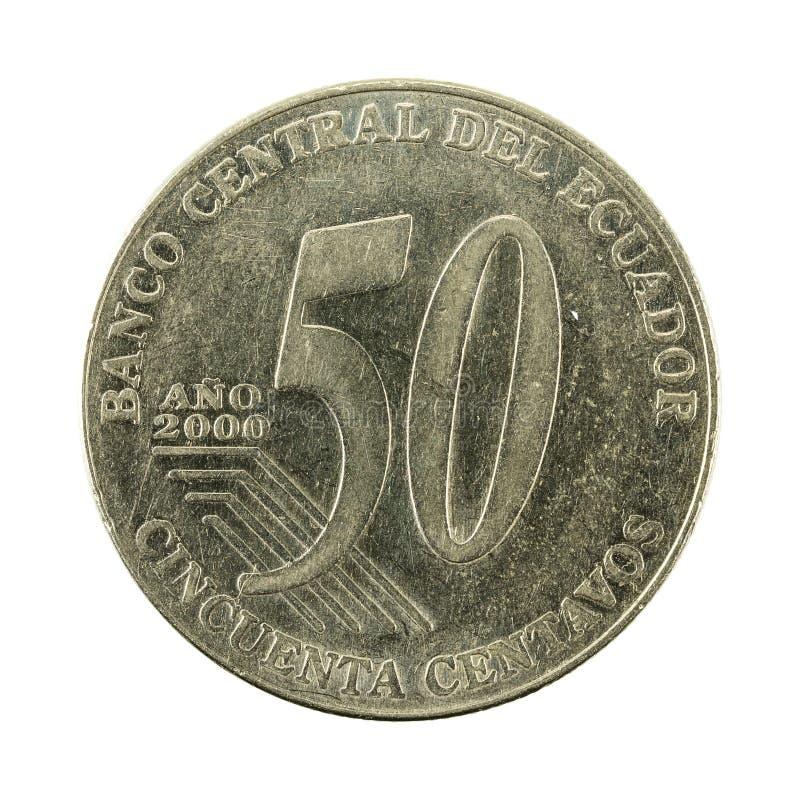 50 face de la pièce de monnaie 2000 de centavo d'ecuadorian images libres de droits